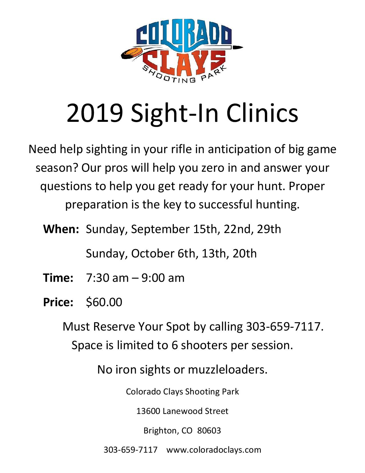 Rifle Sight-In Clinics