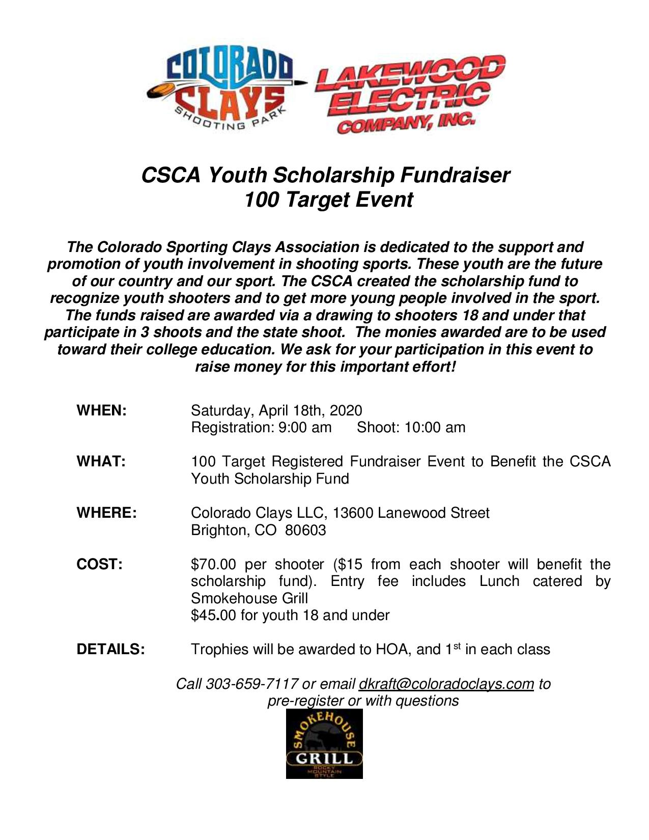 Cancelled - CSCA Youth Scholarship Fundraiser Shoot
