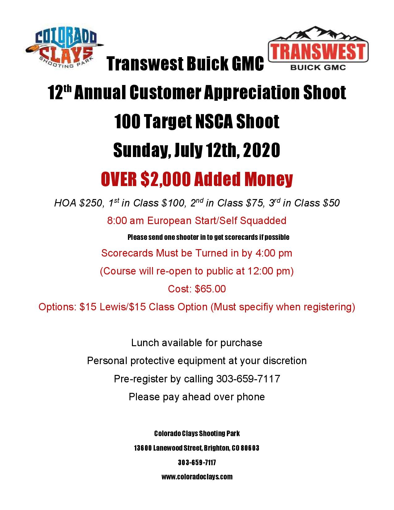 Transwest 100 Target $2,000 Added Money NSCA Shoot