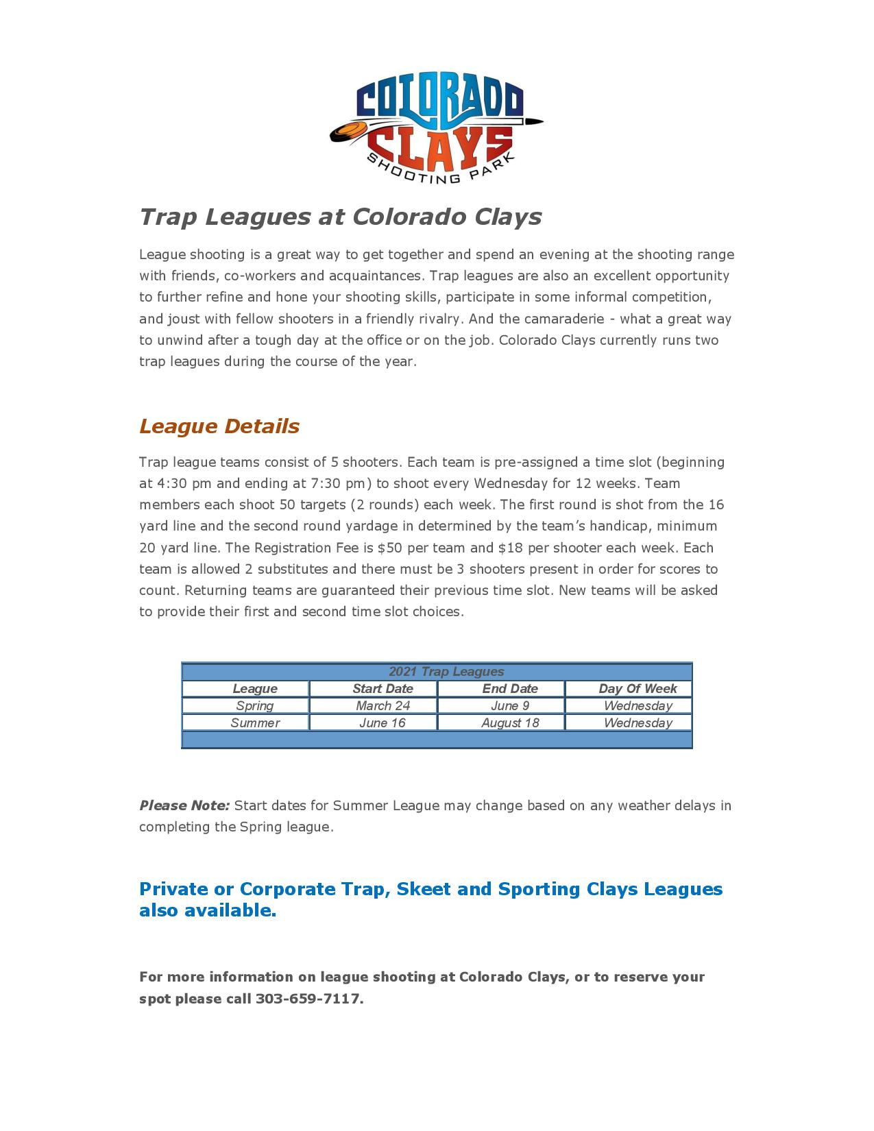 Spring Trap League