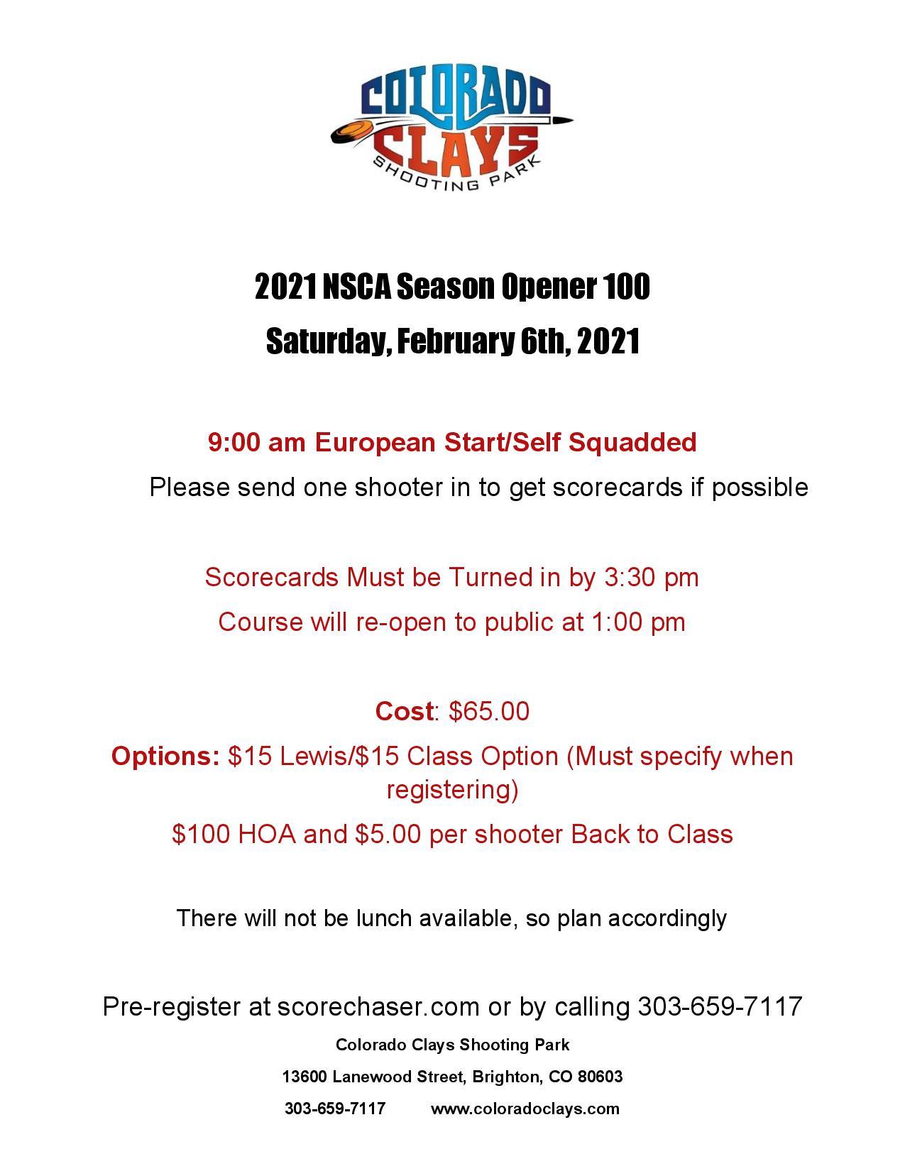NSCA Season Opener 100